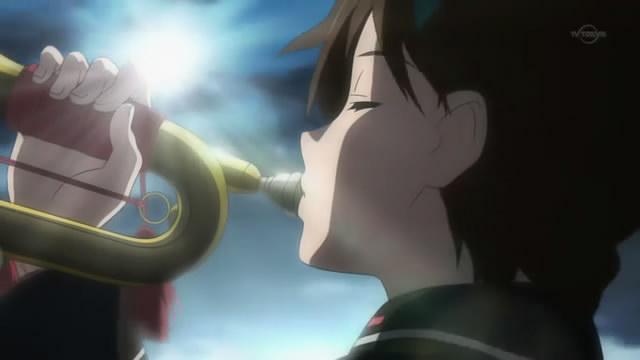 Kanata plays her trumpet.