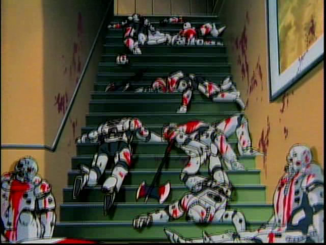 A stairwell filled with bodies of Imperial soldiers