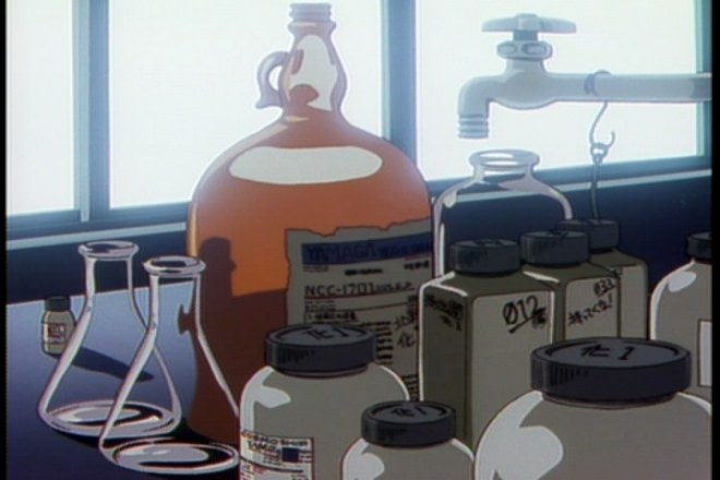 A shot of some chemicals which includes a heavily disguised Star Trek reference