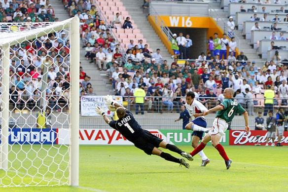 Landon Donovan scores the United States' 2nd goal in their 2nd round win over Mexico in 2002