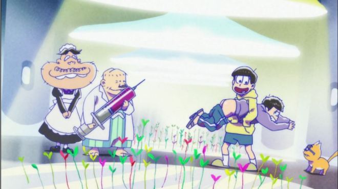 Osomatsu-san is a very serious show about medical ethics and the treatment of animals.