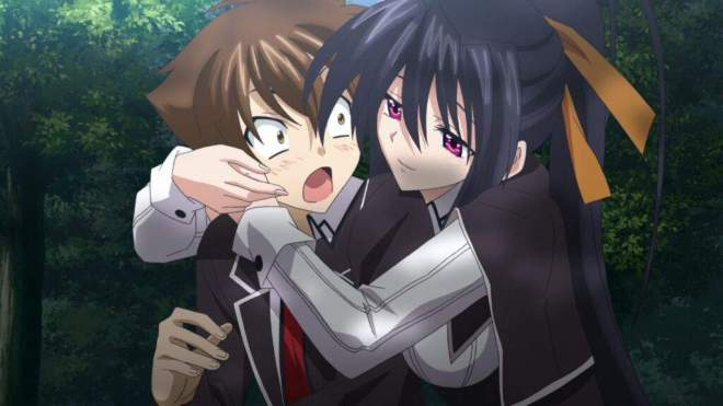 Issei is hugged from behind by Akeno.