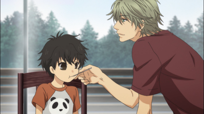 Haru feeds young Ren some food.