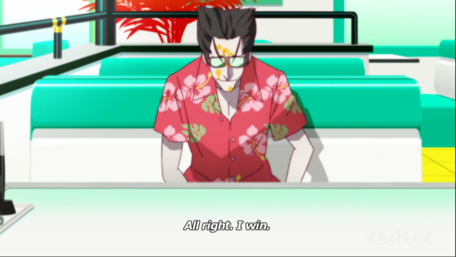 Kaiki is pleased after his own ridiculous outfit gets Hitagi to spit orange juice on him.